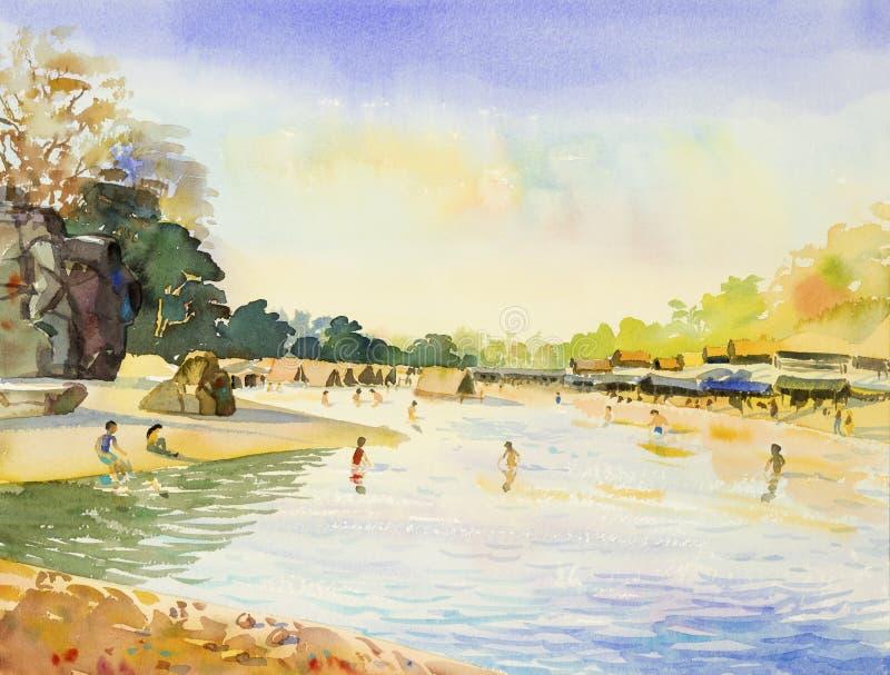 Malować kolorowy wakacje na wakacje i dzieci cieszymy się royalty ilustracja