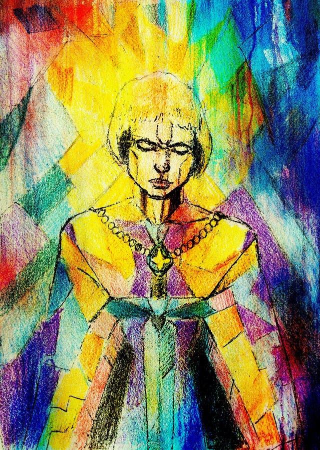 Malować na starym papierze Mozaika koloru tło Joan symboliczny łuk Wojownik kobiety pojęcie Kobieta z kordzikiem ilustracja wektor
