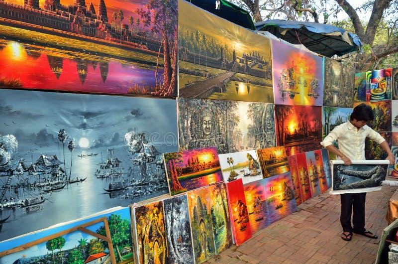 Malować sklep w Angkor Wat zdjęcie stock