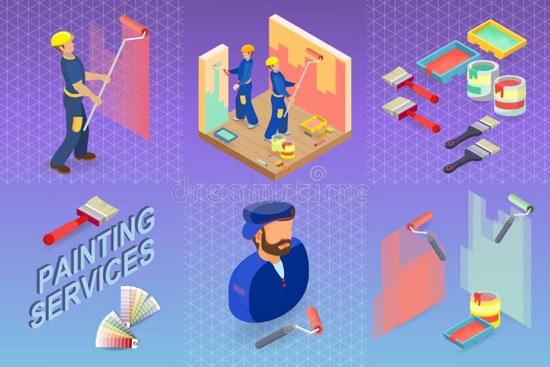 Malować usługa Isometric budynku pojęcie Pracownik, wyposażenie ilustracji