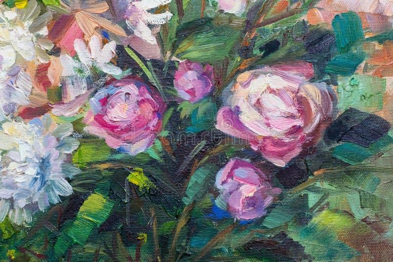 Malować wciąż życie obrazu olejnego teksturę, różana impresjonizm sztuka ilustracja wektor