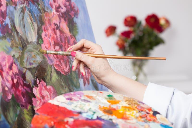 Malować wiązkę kwiaty obraz stock