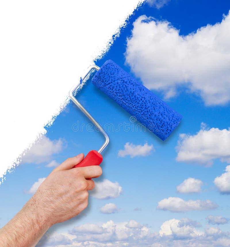 Malować z niebem zdjęcie stock
