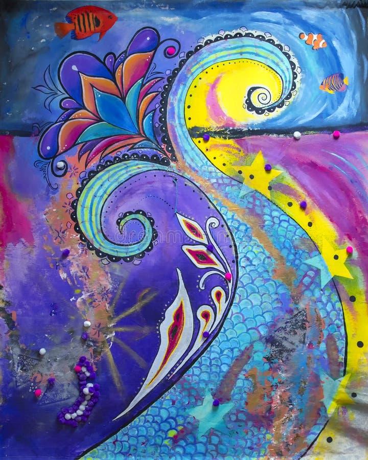 Malowanie ryb przez niezidentyfikowanego artystę na publicznym wystawie w Edmondzie, Oklahoma zdjęcia stock