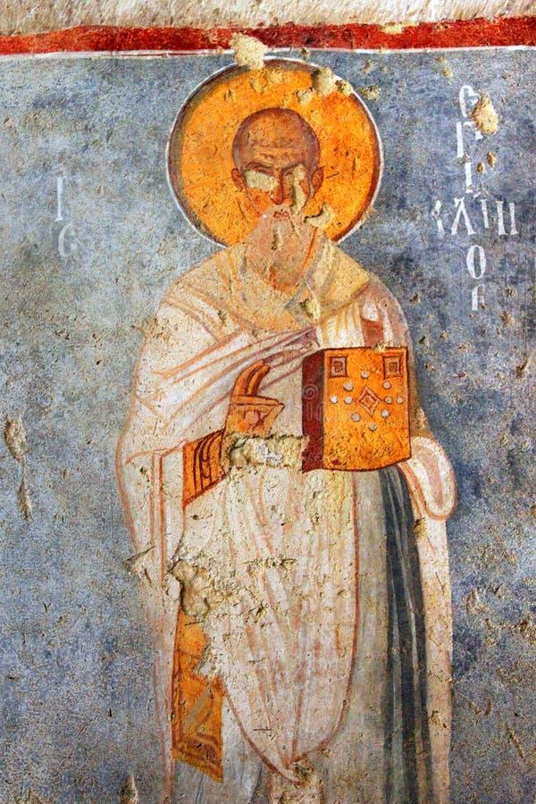 Malowidła ścienne na ścianach kościół St Nicholas, Demre, Turcja zdjęcia royalty free