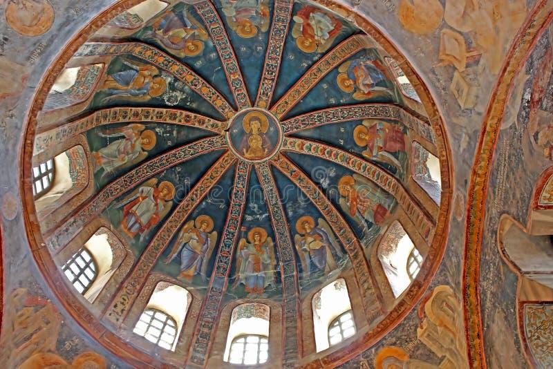 Malowidła ścienne pod kopułą w kościół Święty wybawiciel Na zewnątrz ścian fotografia stock