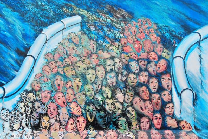 Malowidła ściennego morze ludzkość obrazy royalty free