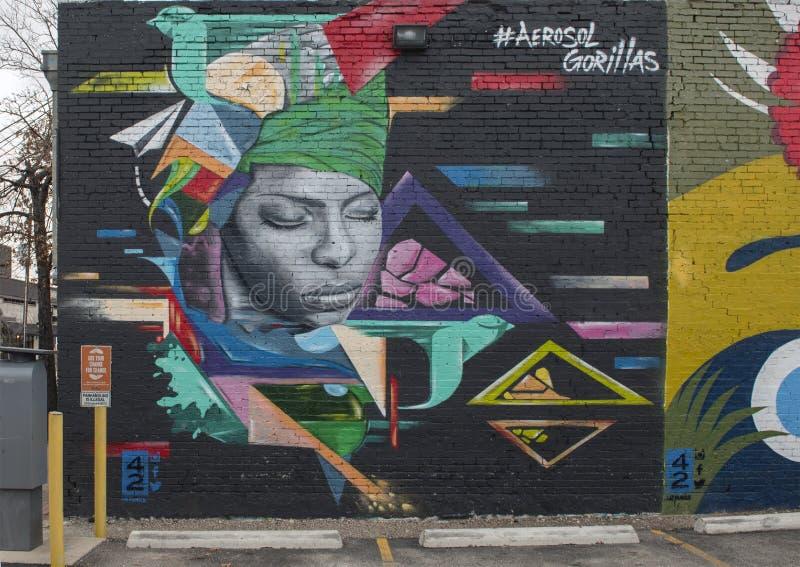 42 malowidło ścienne bezimienny, Głęboki Ellum, Teksas zdjęcie royalty free