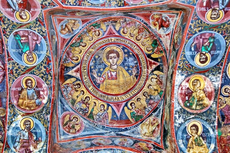 Malowidło ścienne fresk w Rumunia zdjęcia royalty free