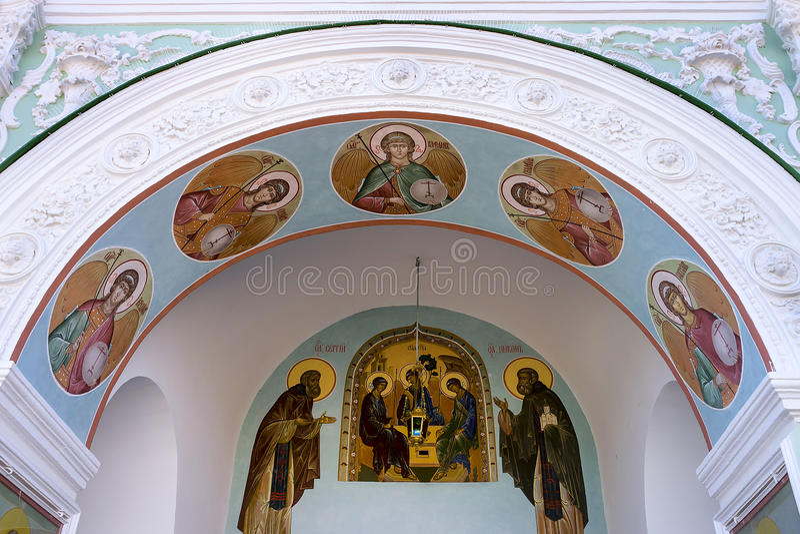 Malowidło ścienne na fasadowej ścianie w trójcie Lavra Unesco Wo obrazy royalty free