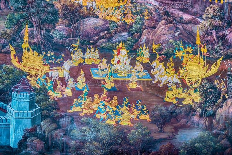 Malowidło ścienne obrazy przy Watem Phra Kaew, Bangkok Wierza, buduje fotografia royalty free