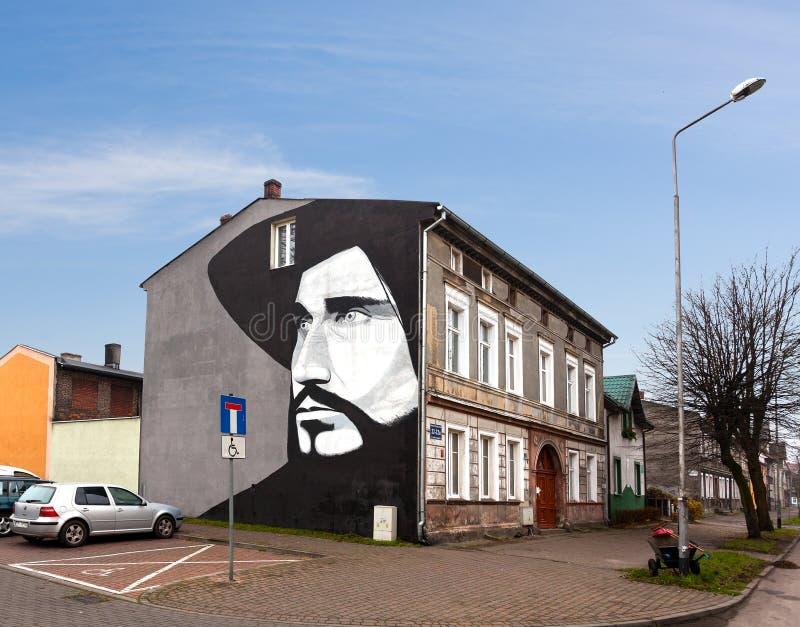 Malowidło ścienne przedstawia sławnego połysku piosenkarza Czeslaw Niemen obraz stock