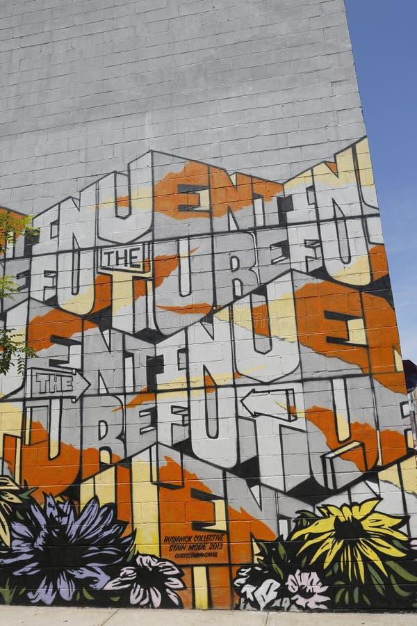 Malowidło ścienne przy Wschodnim Williamsburg w Brooklyn fotografia stock