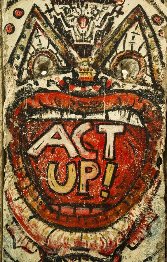 Malowidło ścienne sztuka malował oryginalnie na Berlińskiej ścianie darującej miastem Berlin Waszyngton obraz royalty free