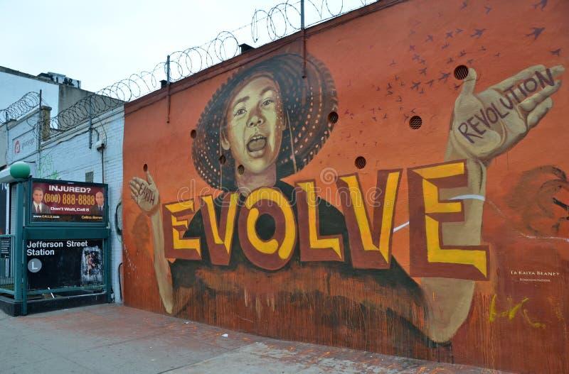 Malowidło ścienne sztuka przy Wschodnim Williamsburg w Brooklyn, NYC fotografia stock