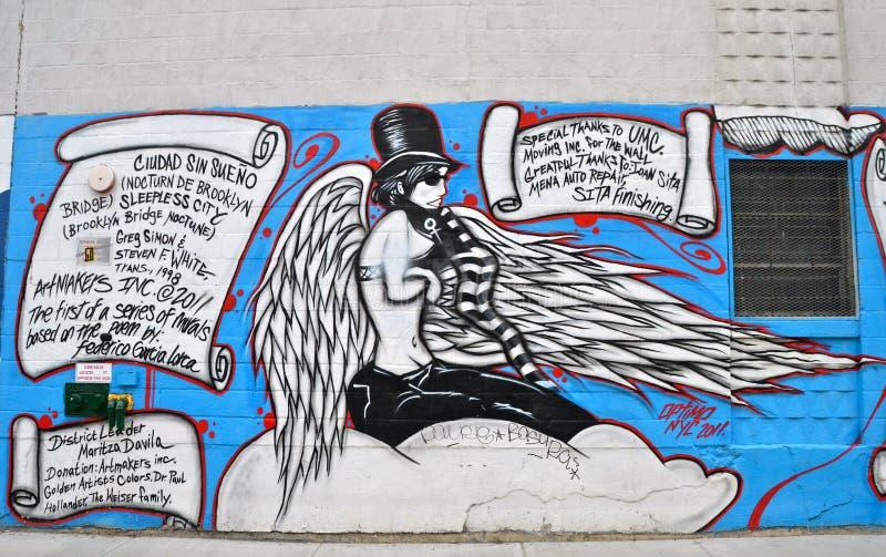 Malowidło ścienne sztuka przy Wschodnim Williamsburg w Brooklyn, NYC obraz royalty free