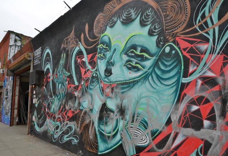 Malowidło ścienne sztuka przy Wschodnim Williamsburg w Brooklyn, NYC obraz stock