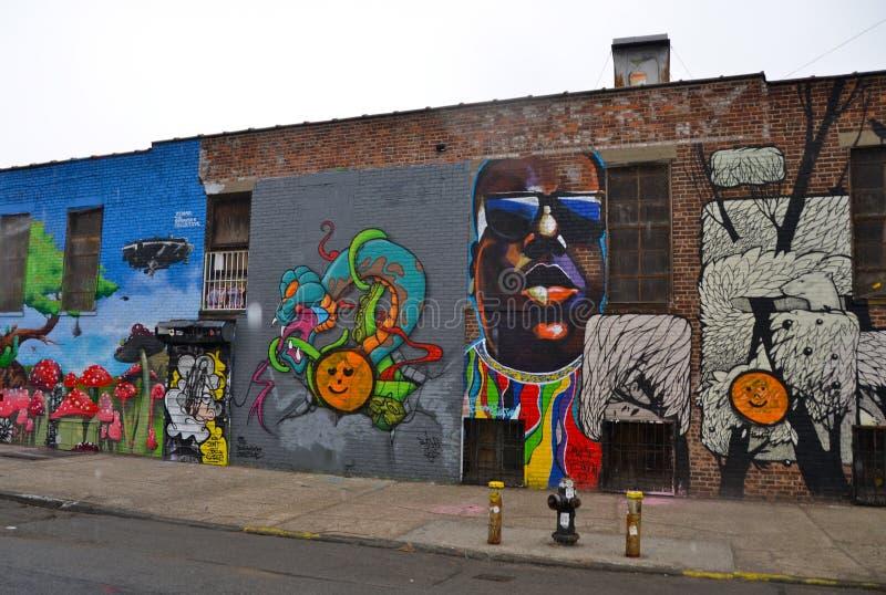 Malowidło ścienne sztuka przy Wschodnim Williamsburg w Brooklyn, NYC zdjęcie royalty free
