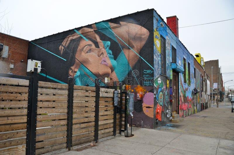Malowidło ścienne sztuka przy Wschodnim Williamsburg w Brooklyn, NYC zdjęcia royalty free