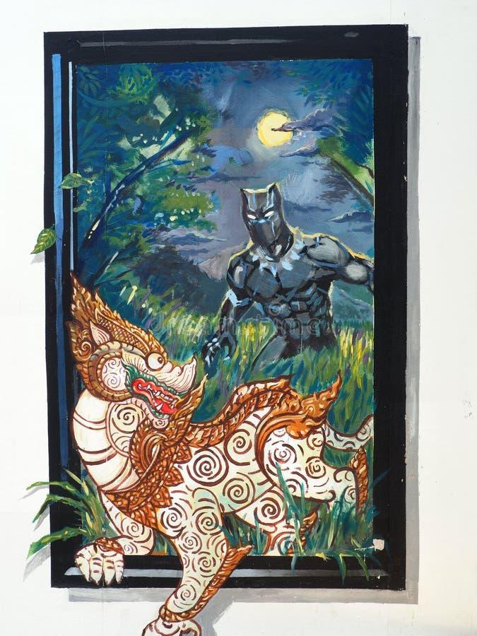 Malowidło ścienne uwypukla mitycznego lwa z powieściowym charakterem zdjęcia royalty free