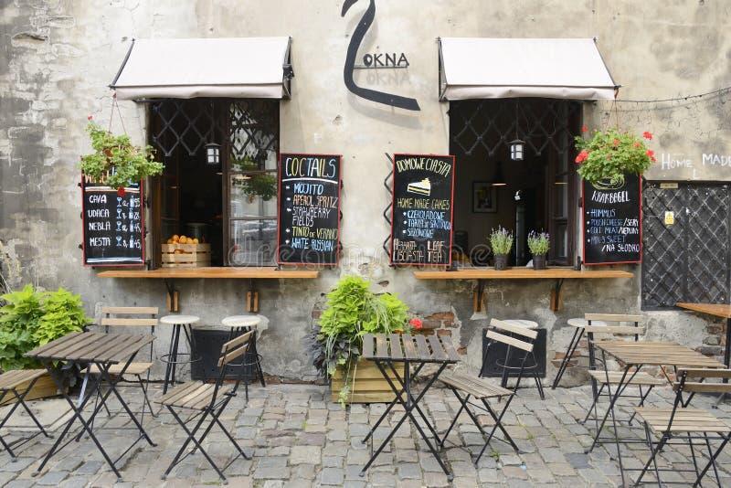 Malownicza restauracja w Żydowskiej ćwiartce Krakow zdjęcia stock