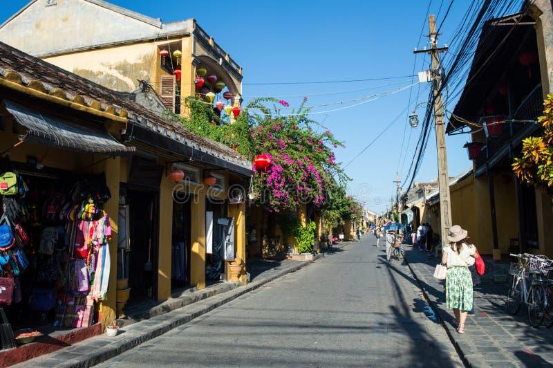 Malownicza ulica w Hoi, Wietnam obraz royalty free
