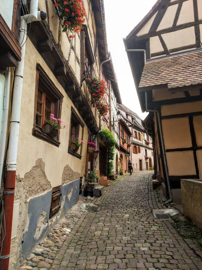 Malownicze aleje Eguisheim, tipical starzy domy dekorowali z kwiatami , Francja obrazy stock