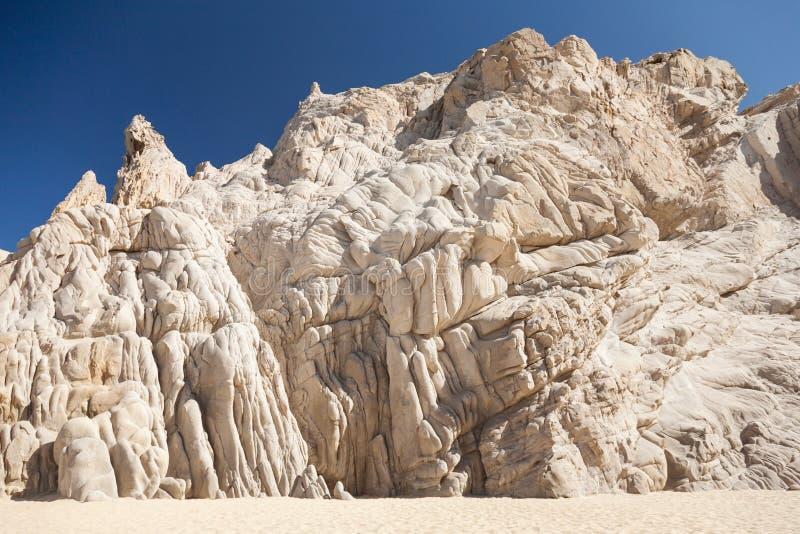 Malownicze skały na kochanka ` s wyrzucać na brzeg w Cabo San Lucas obrazy stock