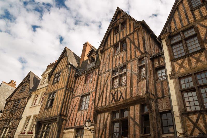 Malowniczy ryglowi domy w wycieczkach turysycznych, Francja obraz royalty free