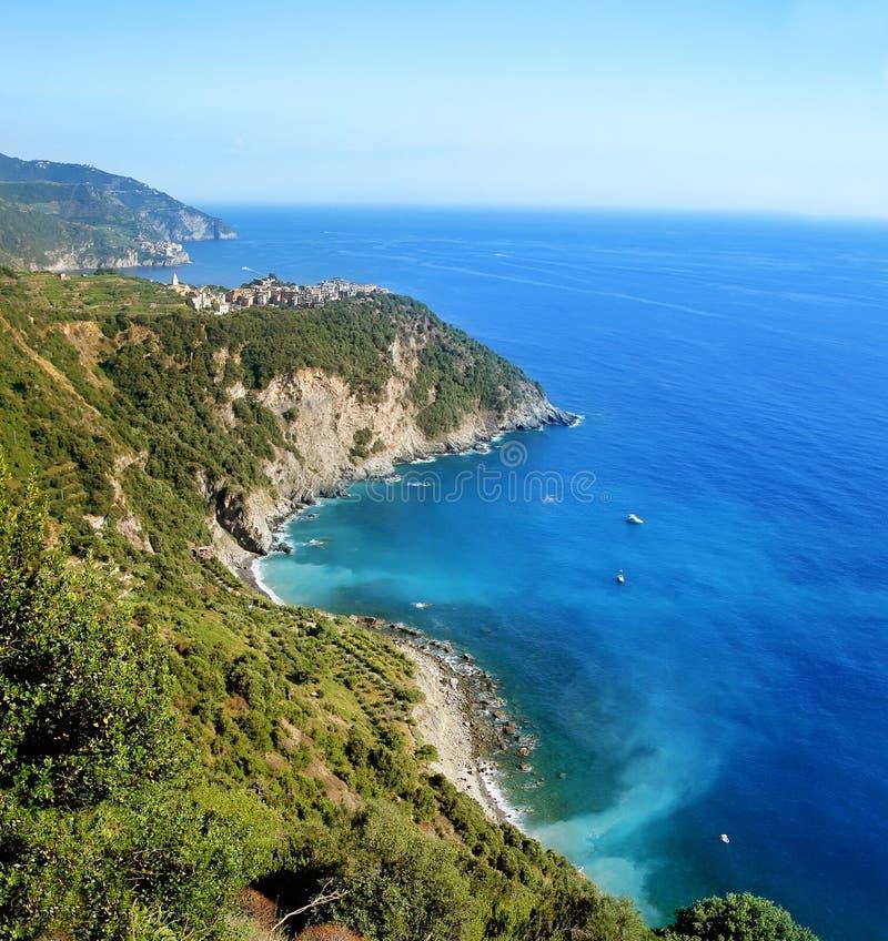 Malowniczy widok Corniglia vilage w lecie Cinque Terre Pięć ziemi park narodowy Włochy zdjęcia royalty free