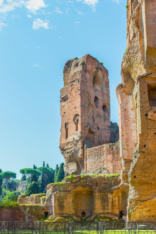 Malowniczy widok na ruinach antyczni Romańscy skąpania Caracalla (Thermae Antoninianae) obraz royalty free