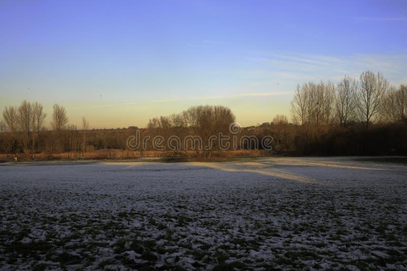 Malowniczy widok nad śnieg zakrywającym polem zdjęcie royalty free