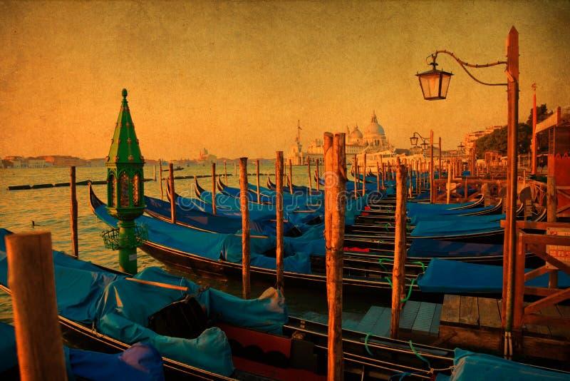 Malowniczy widok Wenecja z rocznik teksturą ilustracja wektor