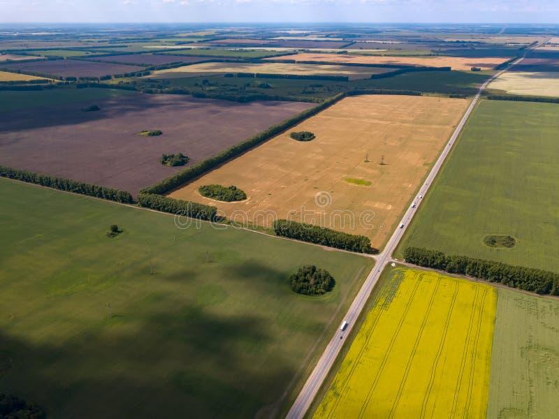 Malowniczy widok z lotu ptaka ziemia uprawna na stubarwnych polach z uprawami siać i r rolnictwem dojrzałym dla żniwa pszeniczneg obraz stock