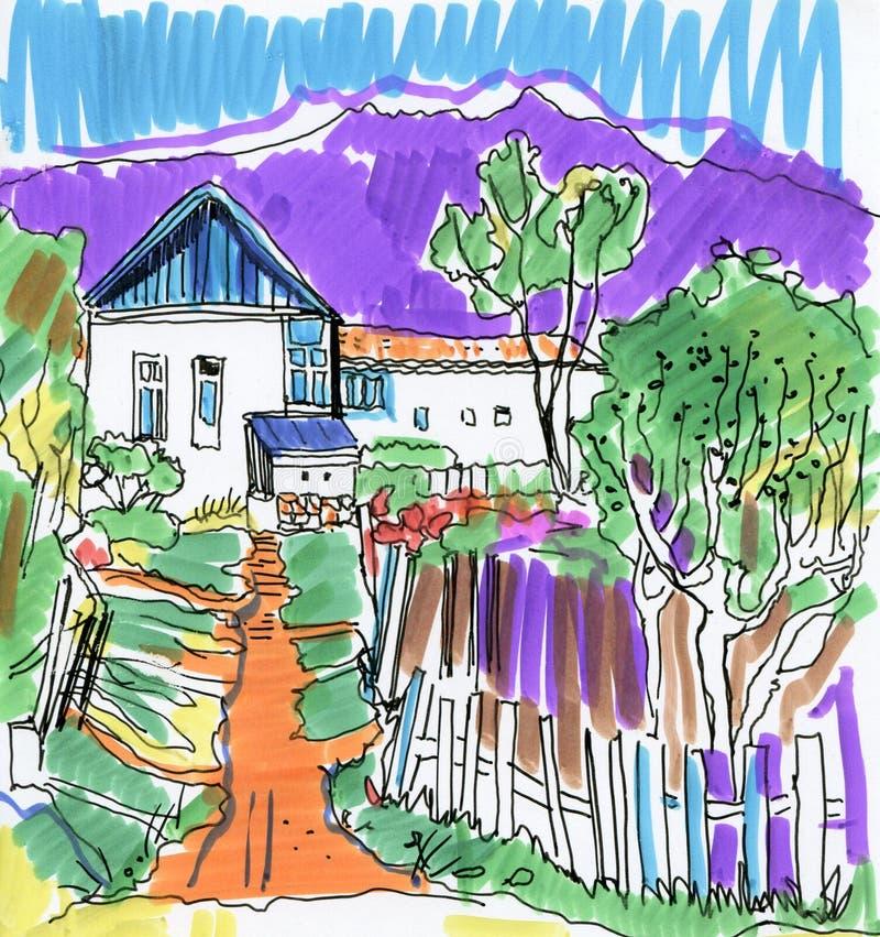 Malowniczy wioska widok z domami i góry ekspresyjna kolorowa akwarela kreślimy ilustracji