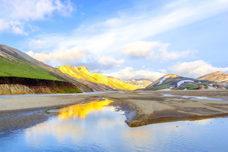 Malowniczy wschód słońca nad górami Landmannalaugar Fjallabak rezerwat przyrody Iceland fotografia stock