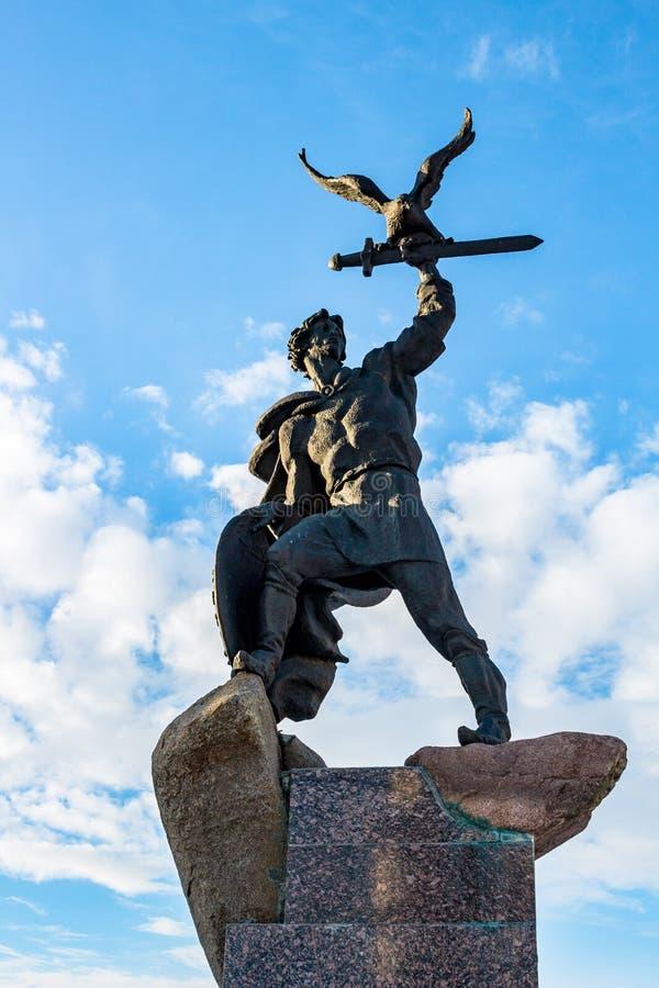 MALOYAROSLAVETS, RUSSIA - FEBBRAIO 2015: Monumento a Vladimir Andreyevich il audace fotografia stock libera da diritti