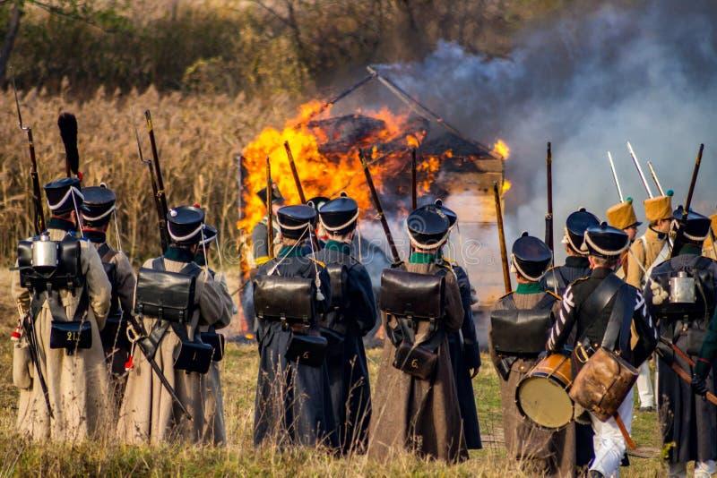 Maloyaroslavets, Russia - 14 ottobre 2018: Ricostruzione storica della battaglia di Maloyaroslavets di 1812 fotografie stock