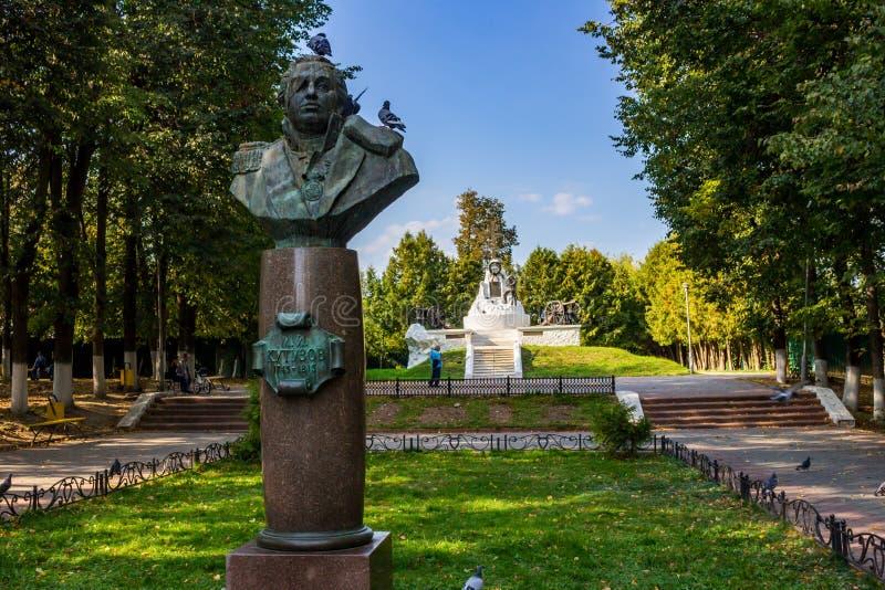 Maloyaroslavets, Russia - settembre 2018: Monumento al maresciallo Kutuzov immagini stock