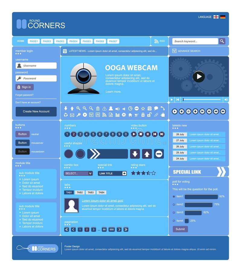 Malplaatje 13 van het Ontwerp van het Web Vector (Blauw Thema) stock illustratie