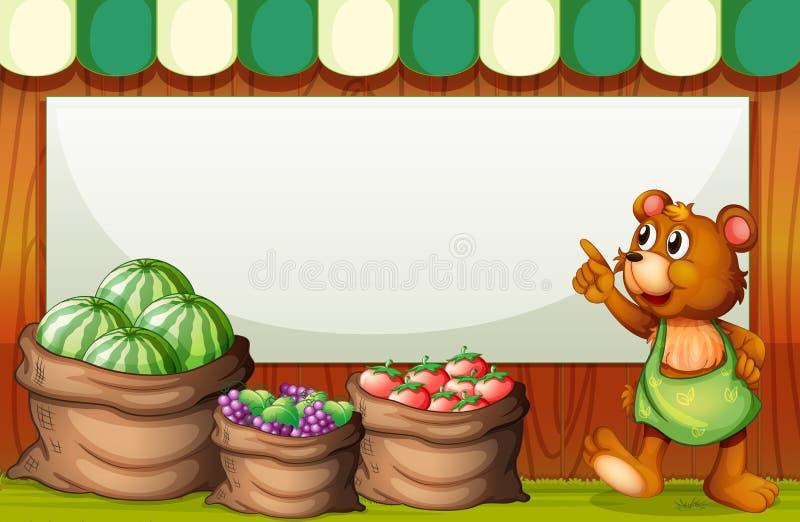 Malplaatje bij markt met beer en zak vruchten vector illustratie