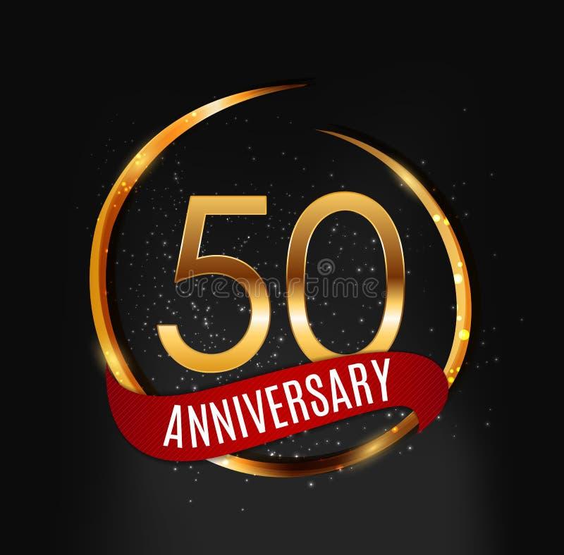 Malplaatje Gouden Embleem 50 Jaar Verjaardags met Rode Lint Vectorillustratie royalty-vrije illustratie