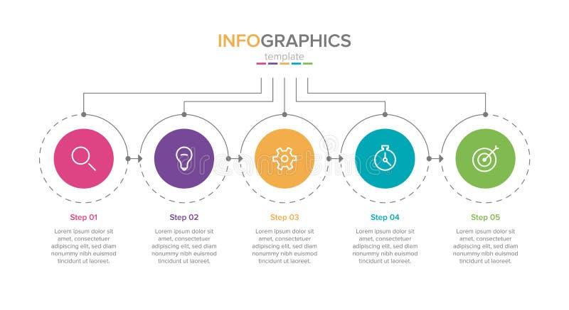 Malplaatje het bedrijfs van Infographic met pictogrammen Dun lijnontwerp met nummer 5 opties of stappen Infographics voor zaken vector illustratie