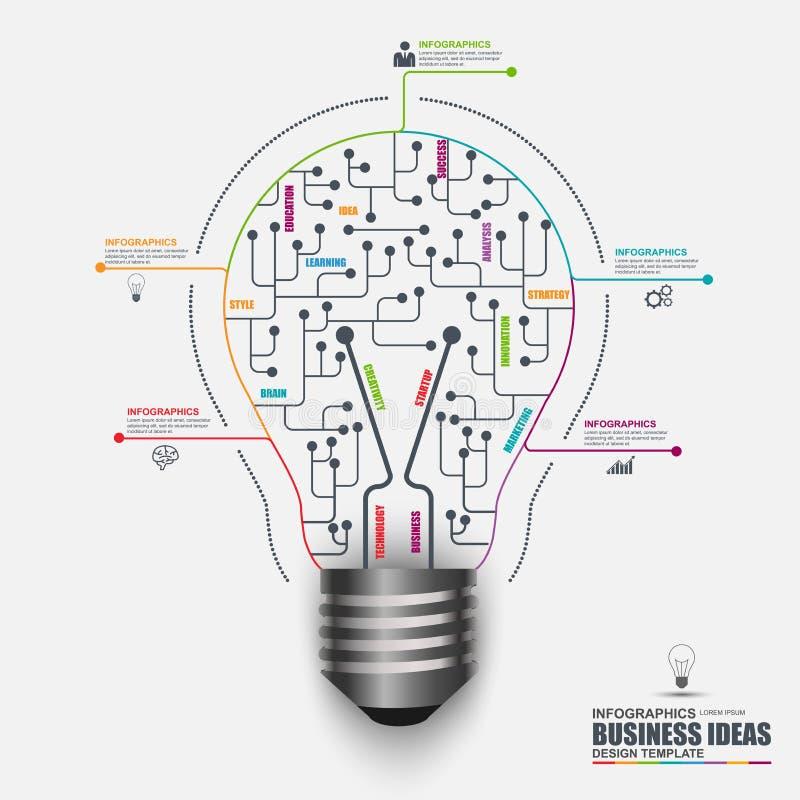 Malplaatje Infographic van het bedrijfs gloeilampen het vectorontwerp stock illustratie