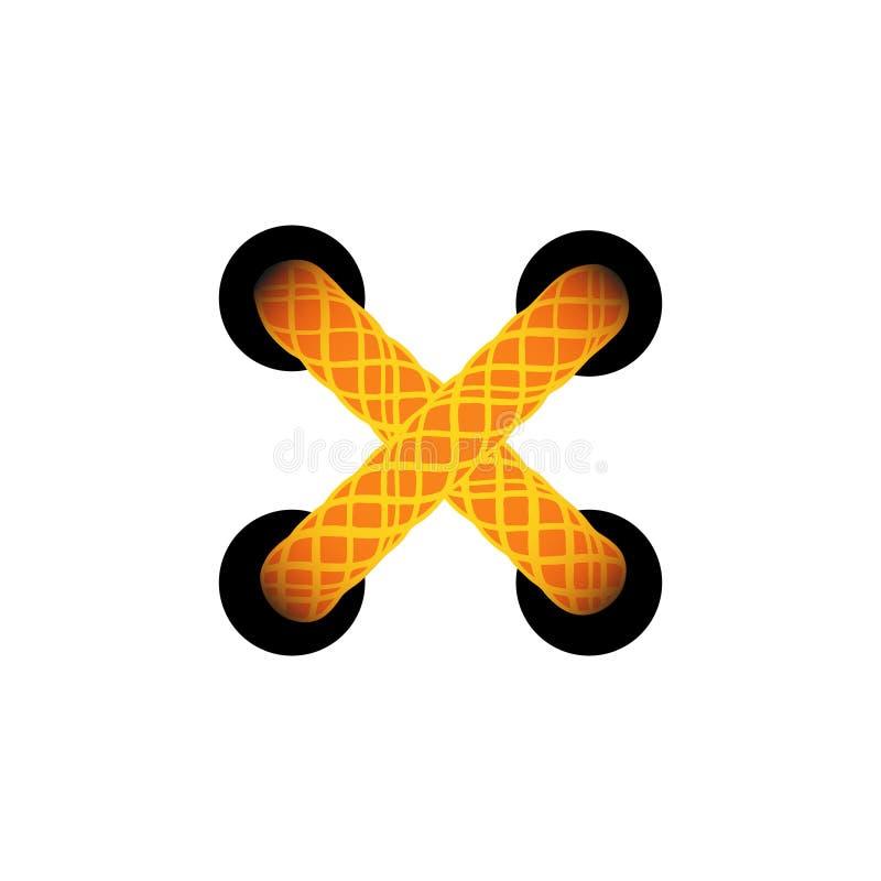 Malplaatje lace-up oranje kruis Het rijgen van regeling, korset met gebonden Vector illustratie royalty-vrije illustratie