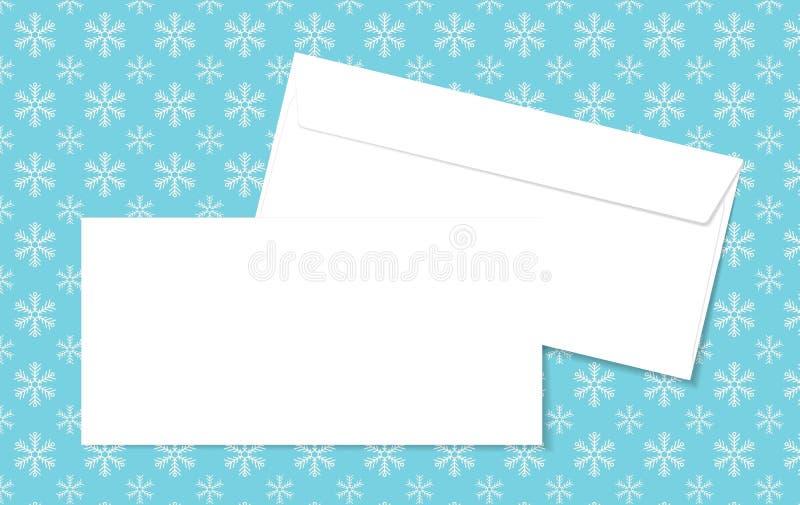 Malplaatje lege vectorenveloppen op Kerstmisachtergrond met sneeuwvlokken Lege witte enveloppen op een blauwe achtergrond stock illustratie
