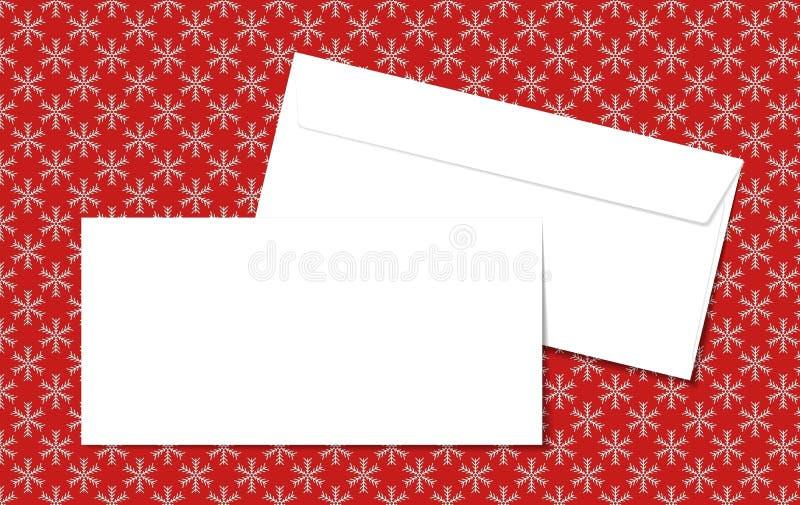 Malplaatje lege vectorenveloppen op Kerstmisachtergrond met sneeuwvlokken Lege witte enveloppen op een rode achtergrond stock illustratie