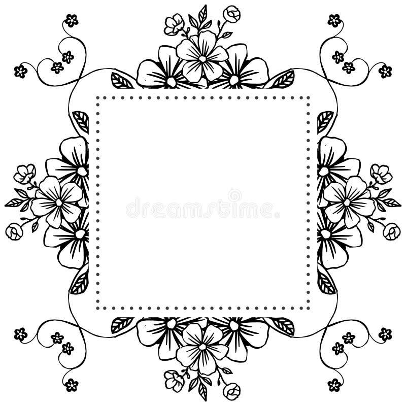 Malplaatje met bloemen, stijl elegant kader, voor wijnoogst van kaarten Vector vector illustratie