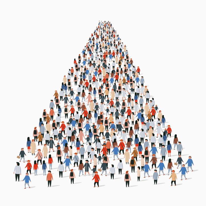 Malplaatje met een menigte van bedrijfsmensen die zich in een lijn bevinden De mensen overbevolken stock illustratie