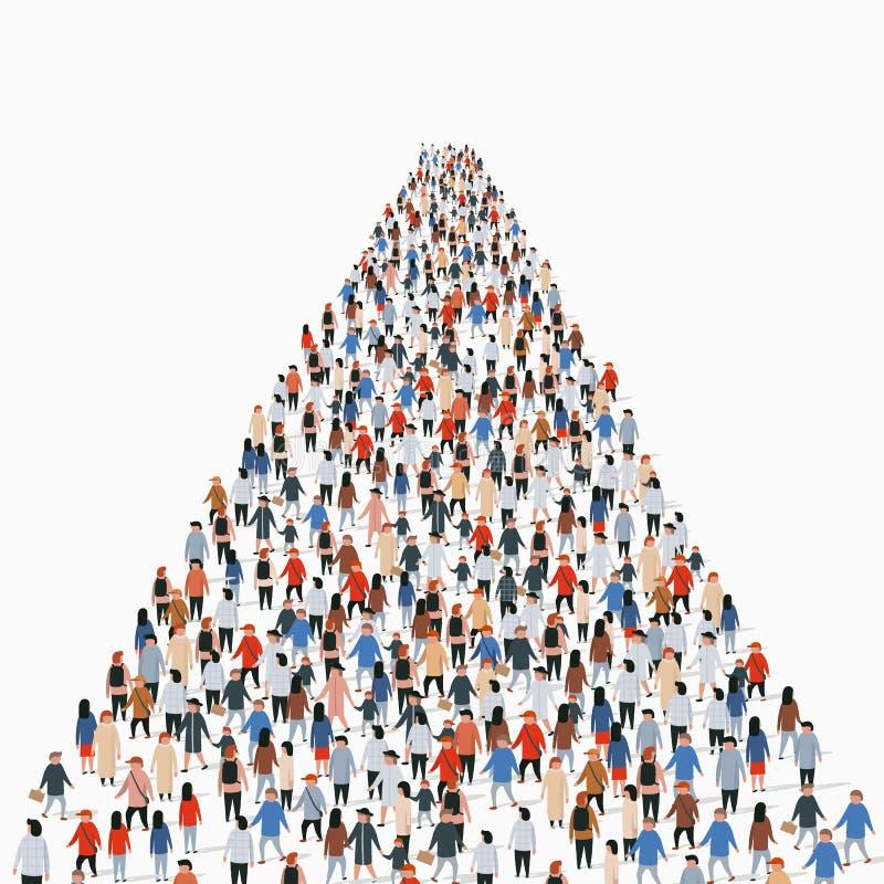 Malplaatje met een menigte van bedrijfsmensen die zich in een lijn bevinden De mensen overbevolken royalty-vrije illustratie